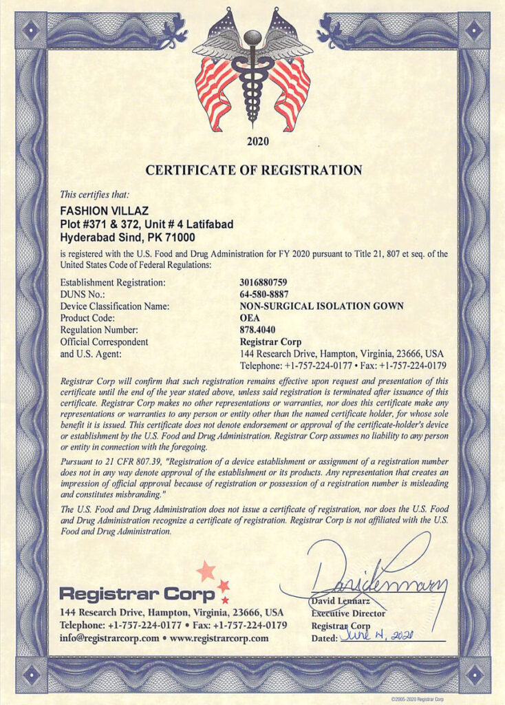 fvsurgical FDA gowns certification 2020