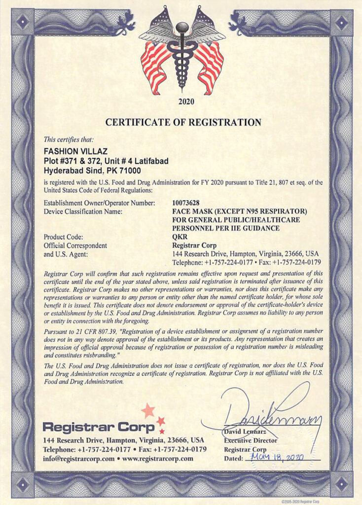 fvsurgical FDA masks certification 2020